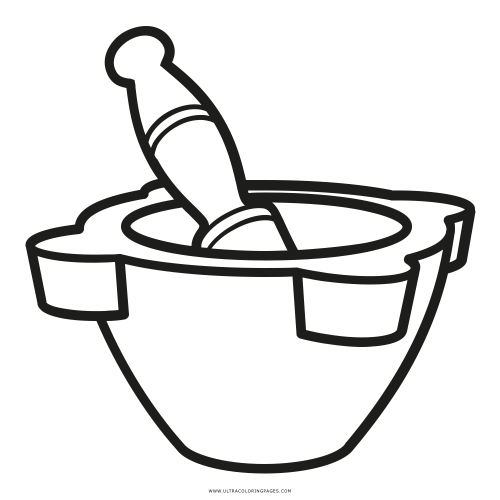 Mortar And Pestle Coloring Page - Ultra Coloring Pages