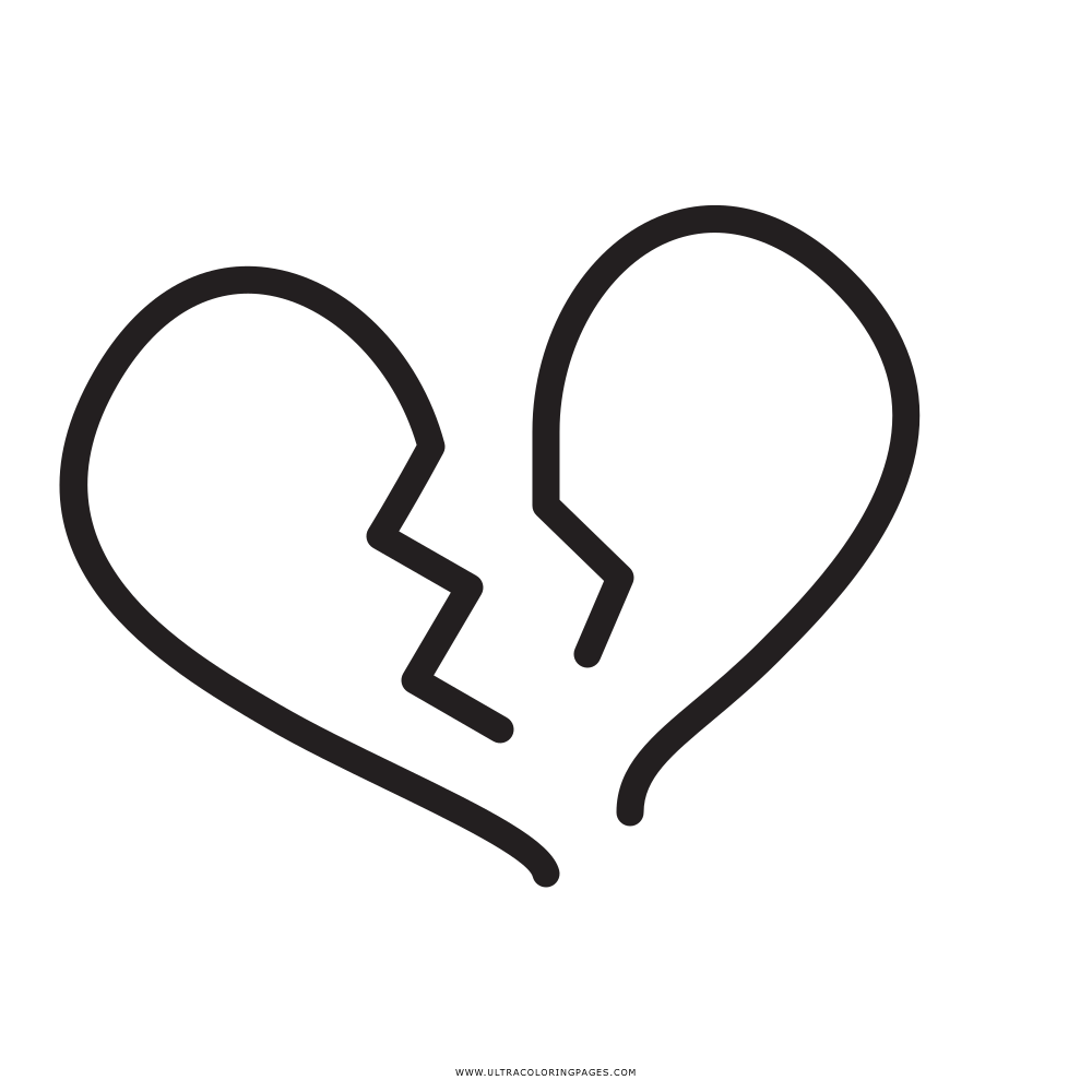 Broken Heart Coloring Page - Ultra Coloring Pages